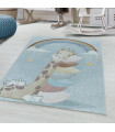 Çocuk Bebek odası Halısı Gökkuşağı Zürafa Tavşan temalı Mavi tonlarda