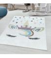 Çocuk Bebek odası Halısı Unicorn Yıldız Taç temalı Beyaz tonlarda