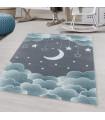 Çocuk Bebek odası Halısı Bulut Ay Yıldız desenli Mavi Gri tonlarda
