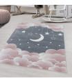Çocuk Bebek odası Halısı Bulut Ay Yıldız desenli Pembe Gri tonlarda