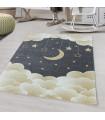 Çocuk Bebek odası Halısı Bulut Ay Yıldız desenli Sarı Gri tonlarda