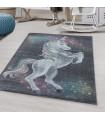Çocuk Bebek odası Halısı Unicorn Yıldız motifli Gri Pembe tonlarda