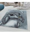Çocuk Bebek odası Halısı Tavşan Bunny temalı Mavi Gri tonlarda