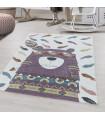Çocuk Bebek odası Halısı Kızılderili Ayı Tüy temalı Lila Beyaz