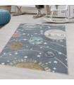 Çocuk Bebek odası Halısı Uzay Dünya Güneş temalı Gri tonlarda