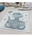 Çocuk Bebek odası Halısı Kaplumbağa Kelebek Yıldız desenli Mavi Beyaz