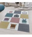 Çocuk Bebek odası Halısı yumuşak çok renkli ayı tavşan desenli