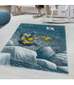 Çocuk Bebek odası Halısı Penguen İglo Buzul temalı Mavi Gri