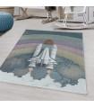 Çocuk Bebek odası Halısı Uzay gemisi Roket Dünya temalı Mavi Gri