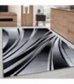 Modern desenli Halı Geometrik dalgalı ve Çizgili tasarım Siyah Gri Beyaz