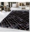 Modern karma abstrak kareler Mermer desenli Halı Siyah Bakır Bronz Gri