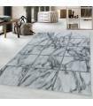 Modern Karo Fayans Mermer desenli Halı Gümüş Siyah Beyaz
