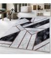 Modern Geometrik Mermer desenli Halı Bronz Bakır Siyah Beyaz