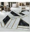 Modern Geometrik Mermer desenli Halı Gold Altın Siyah Beyaz