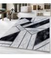 Modern Geometrik Mermer desenli Halı Gümüş Siyah Beyaz