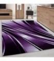 Modern desenli Halı Geometrik dalgalı ve Çizgili tasarım Siyah Lila Beyaz