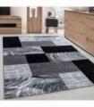 Modern desenli Halı Geometrik kareli Siyah Gri Beyaz taramalı